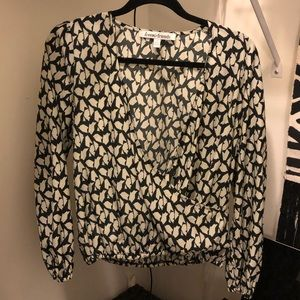 Lovers & friends surplice top black and white s